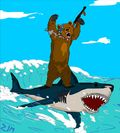 Bear-riding-shark